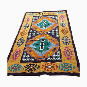 Vintage Hand Woven Colorful Geometric Wool Rug, 1970s