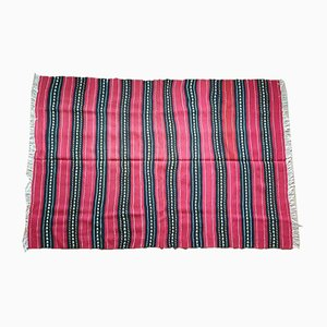 Modern Handmade Burgundy Wool Rug, 2000s