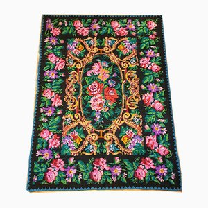 Large Romanian Handmade Floral Rug, 1970s