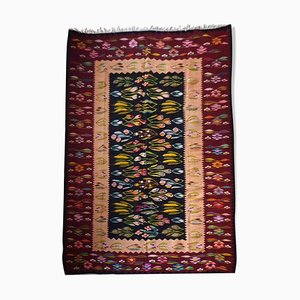Large Hand Woven Floral Living Room Rug, 1980s