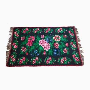 Vintage Romanian Hand Woven Floral Rug, 1980s