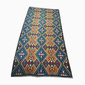 Large Romanian Handwoven Rug in Brown & Blue Geometric Wool, 1970s
