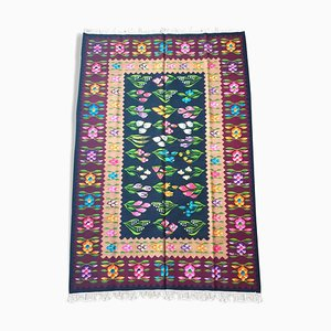 Oltenian Hand Woven Wool Floral Rug, 1980s