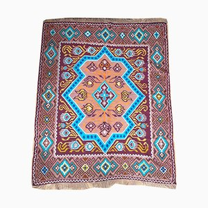 Romanian Hand Woven Rug with Brown & Turquoise Design and Fringes, 1950s