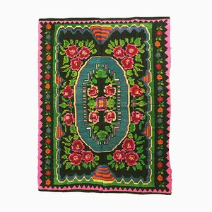 Hand Woven Green and Fuschia Floral Wool Rug, 2000s