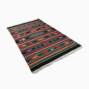 Rumänischer Rustikaler Bunter Geometrischer Kilim Teppich aus Baumwolle