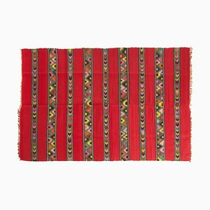 Large Handmade Red Wool Kilim Rug in Vibrant Colors, 1970s