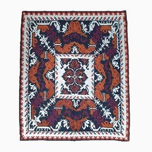 Handgewebter rumänischer Teppich mit Design in Braun, Schwarz & Weiß, 1970er