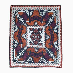 Romanian Handwoven Rug with Brown, Black & White Design, 1970s