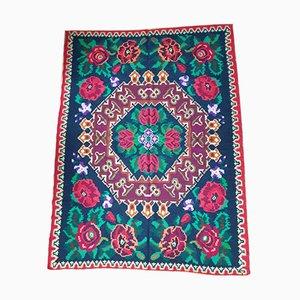 Handwoven Colorful Floral Design Wool Kilim Rug, 1970s