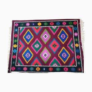 Vintage Romanian Rustic Wool Geometric Kilim Rug