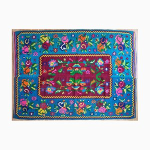 Romanian Blue Floral Wool Rug, 1950s