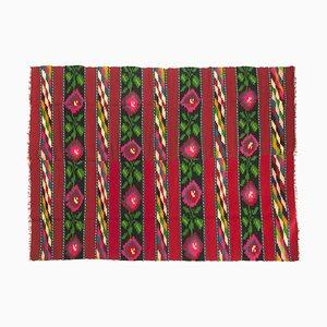 Romanian Colorful Fuschia Flower Wool Rug, 1960s