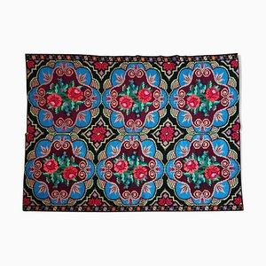 Vintage Romanian Handmade Turquoise and Burgundy Carpet, 1960s
