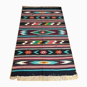 Rumänischer Geometrischer Hellgefärbter Baumwoll Kilim Teppich