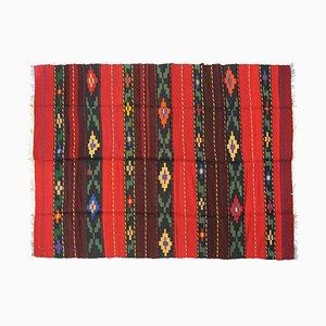 Romanian Striped & Floral Rural Kilim Carpet, 1950s