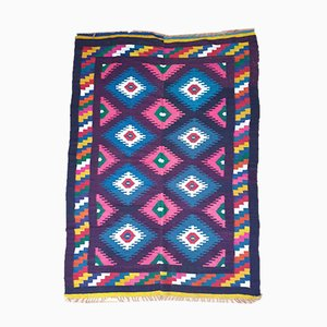 Romanian Geometrical Colorful Wool Kilim Carpet, 1950s