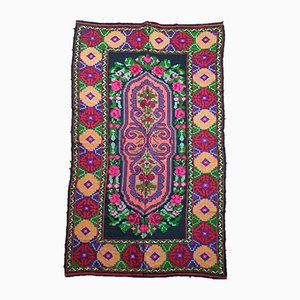 Romanian Hand Woven Floral Wool Rug, 1970s