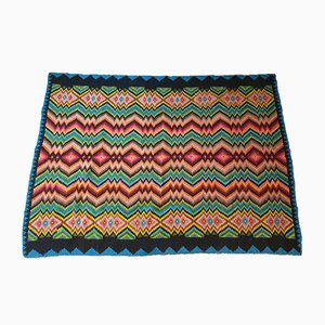 Missoni Style Hand Woven Colorful Wool Rug, 1970s