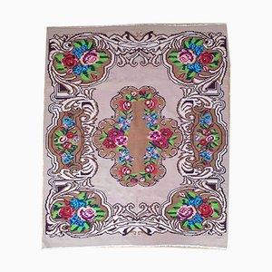 Romanian Handmade Merino Wool Floral Rug, 1980s