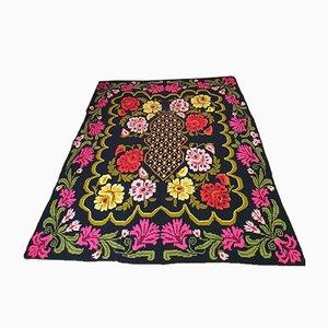 Romanian Handmade Cross Stitched Floral Carpet, 1980s