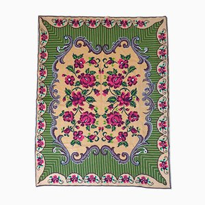 Romanian Cross Stitched Floral Carpet with Red Roses, 1980s