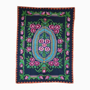 Hand Woven Green and Fuschia Wool Floral Rug, 1970s