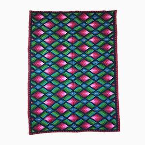 Romanian Geometric Hand Woven Rug, 1960s