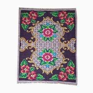 Romanian Handmade Wool Floral Rug, 1980s