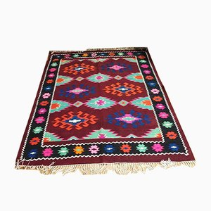 Romanian Handmade Brown and Turquoise Wool Kilim Rug with Accent Colors