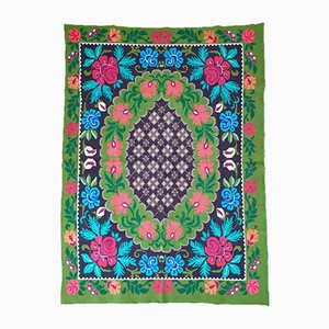 Romanian Floral Cross Stitched Carpet with Colorful Design on Green Background, 1980s