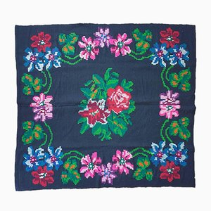 Hand Woven Black & Colorful Summer Floral Rug or Bedspread, 1970s
