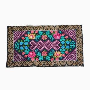Vintage Romanian Colorful Floral Carpet, 1960s