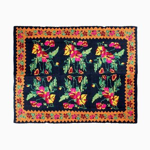 Romanian Hand Woven Rug in Black Wool & Pink and Yellow Flowers, 1940s