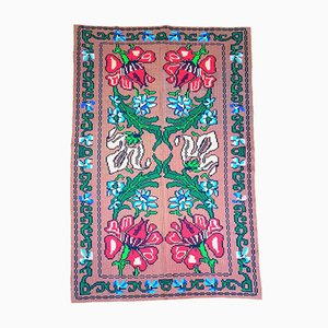 Romanian Hand Woven Floral Rug, 1970s