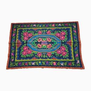 Handgewebter Rumänischer Teppich aus Grünem & Fuschia Wolle, 2000er