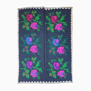 Romanian Hand Woven Black Blackground Rug with Big Roses, 1970s