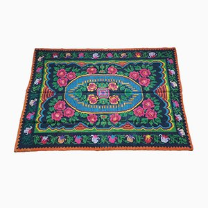 Hand Woven Green and Fuschia Wool Floral Rug, 2000s