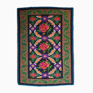 Vintage Romanian Rug with Pink Roses and Purple Flowers, 1970s