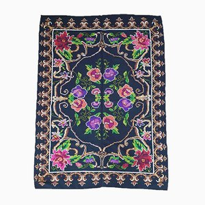 Vintage Romanian Handmade Wool Floral Carpet, 1960s