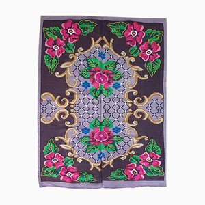 Romanian Bohemian Handmade Lavender & Pink Floral Wool Carpet, 1960s