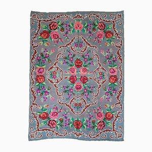 Handmade Wool Floral Carpet, 1960s