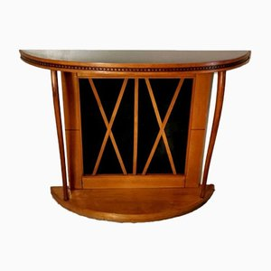 Italian Cherry Console Table with Black Glass in the Style of Osvaldo Borsani, 1963