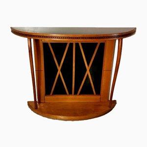 Table Console en Merisier avec Verre Noir Style Osvaldo Borsani, Italie, 1963