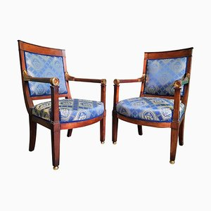 Antique French Empire Bergère Armchairs, 1800s, Set of 2