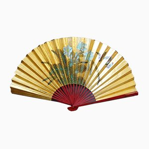 Large Chinese Gold Paper Fan, 1960s