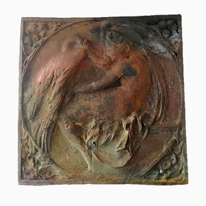 Relieve Leda antiguo de bronce