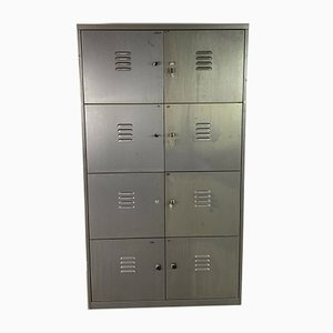 Vintage Industrial Stripped Steel Locker Cabinet