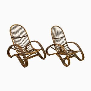Mid-Century Italian Bamboo Lounge Chairs, 1970s, Set of 2