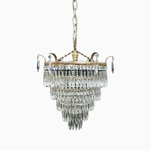 Italian Art Deco 5-Tier Crystal Glass Chandelier, 1930s
